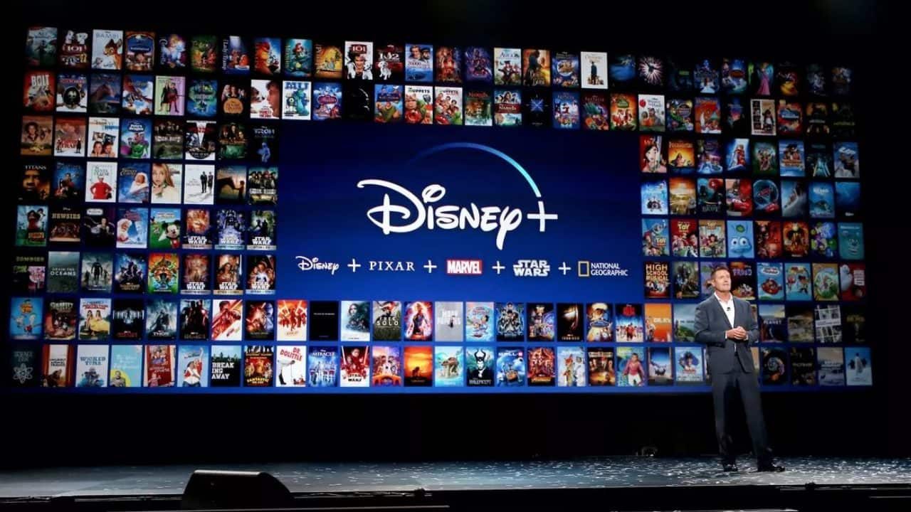 Large screen with different Disney+ shows