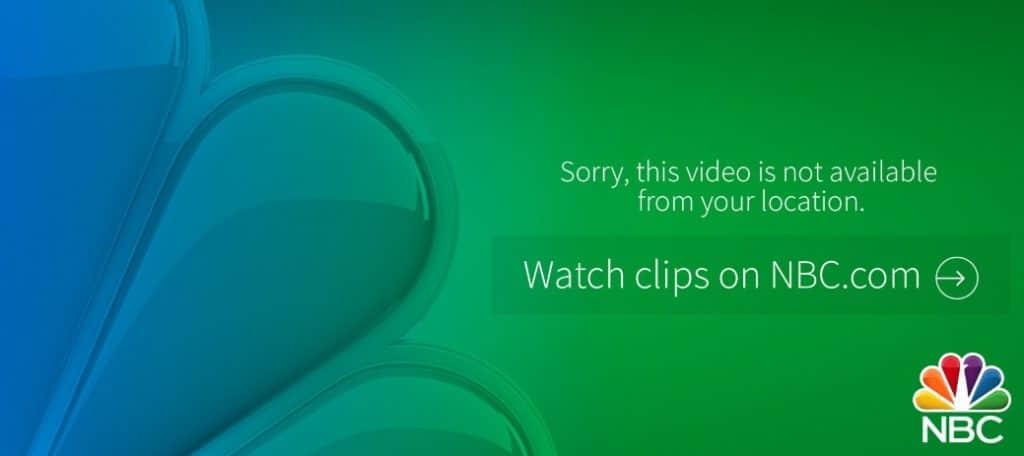 NBC streaming error due to geo-blocking