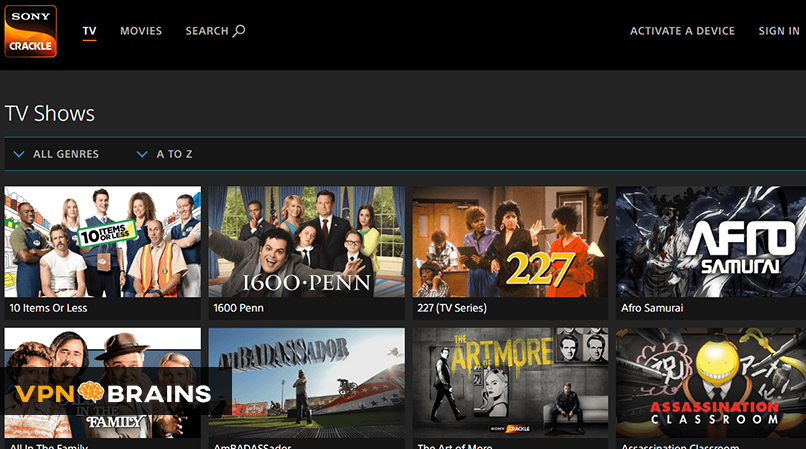 Crackle tv streaming site