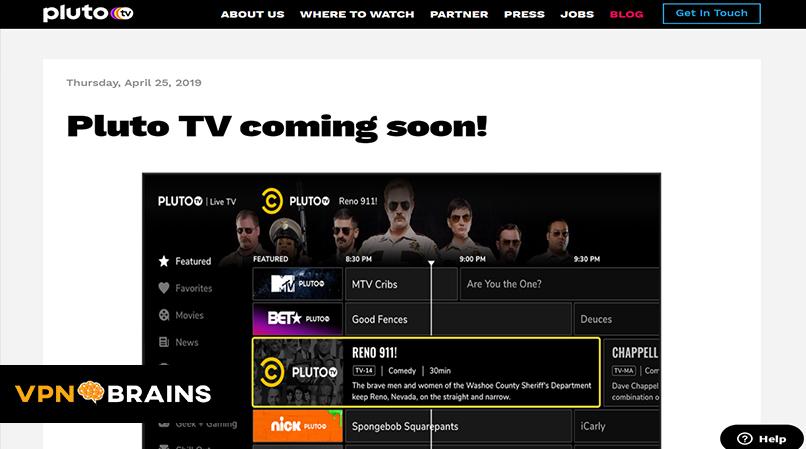 Pluto TV tv streaming site