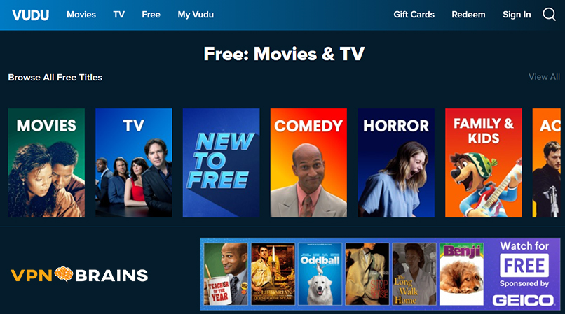 Vudu tv streaming site