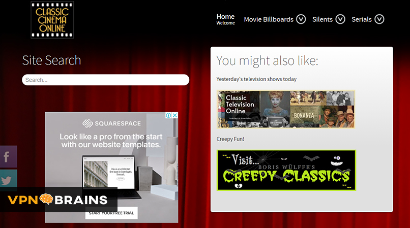 Classic Cinema Online tv streaming site