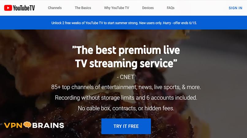 YoutubeTV tv streaming site