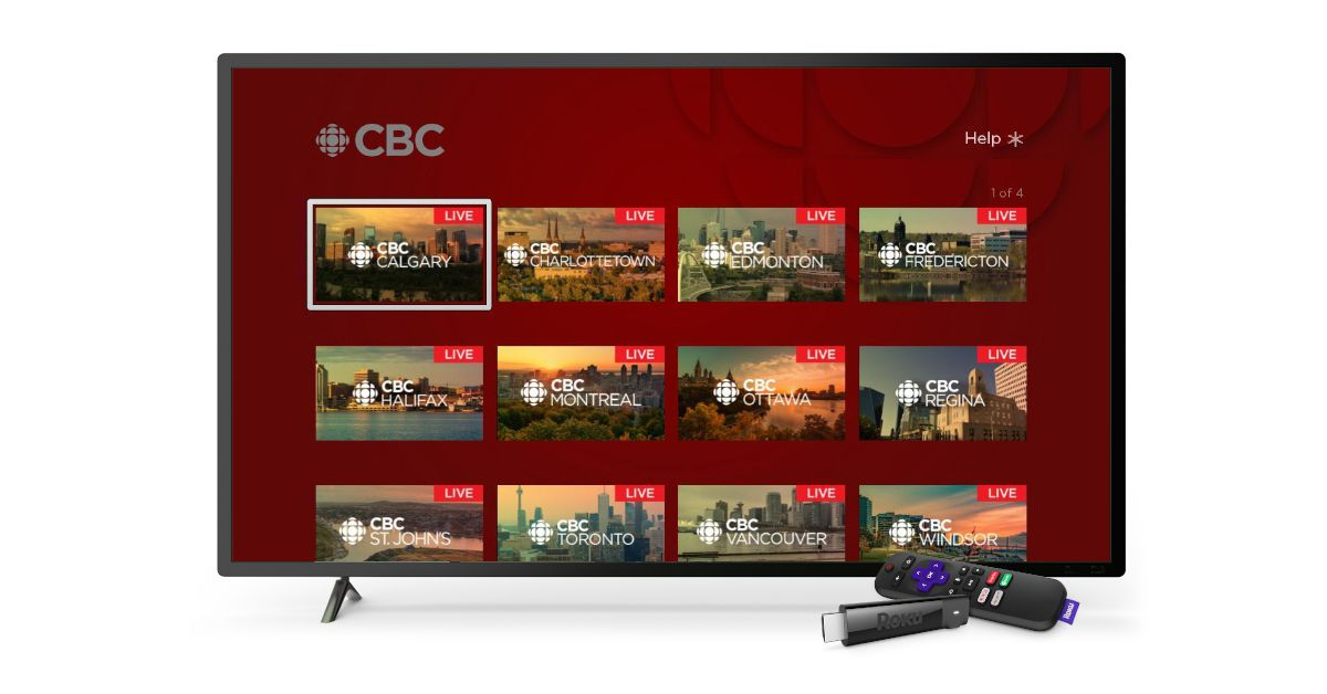 Smart TV display showing different CBC channels
