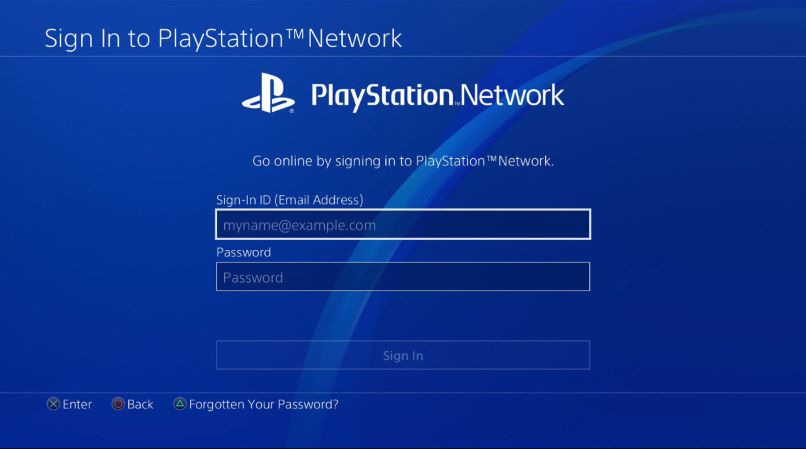 Playstation Network sign in screen