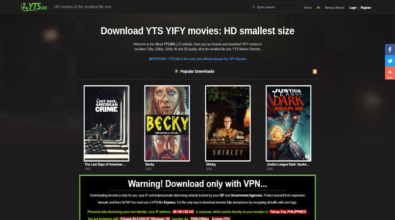 YTS homepage
