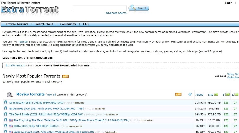 ExtraTorrent homepage