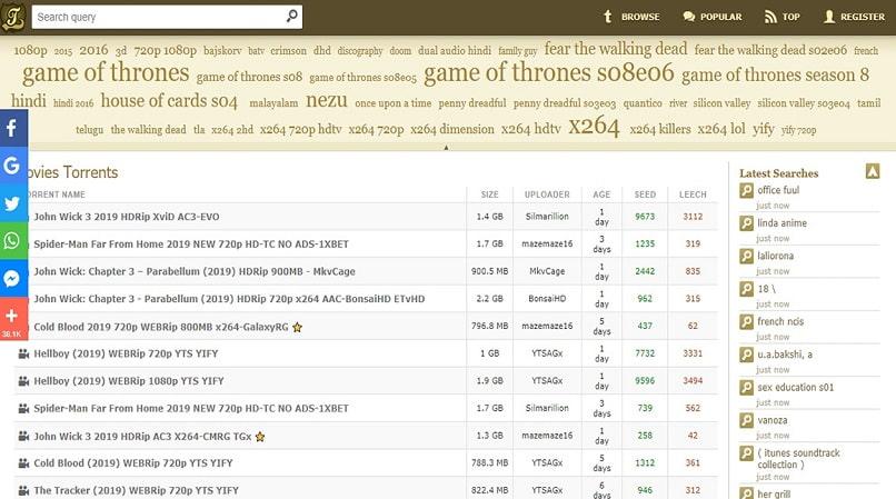 Kicksass Torrents homepage