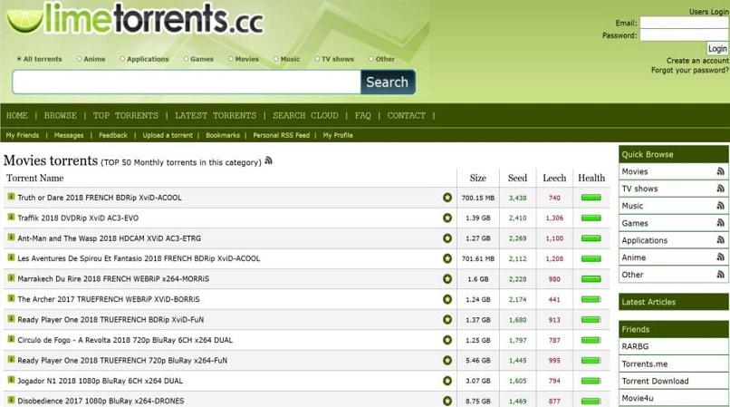 Limetorrents homepage