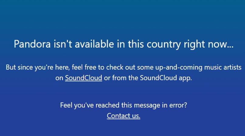 Pandora geo restriction error